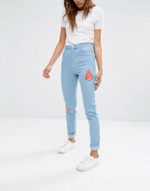 Asos Mom Jeans Summer Patches